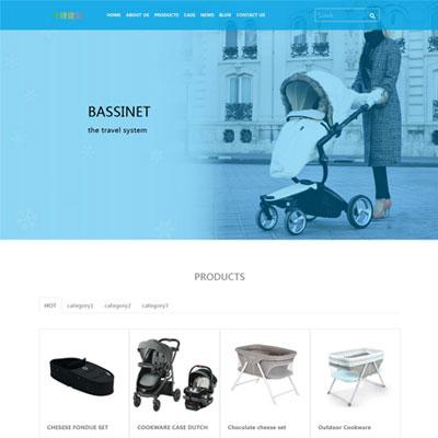 摇篮英文童车婴儿车外贸网站模板